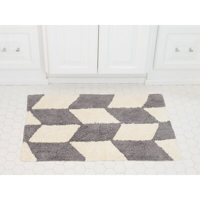 Herringbone Cotton Bath Mat Color: Gray / Ivory