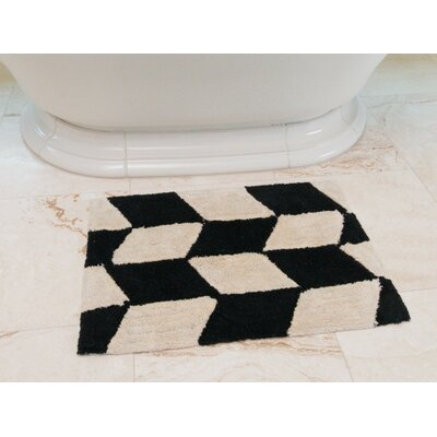 Herringbone Cotton Bath Mat Color: Black / Cream