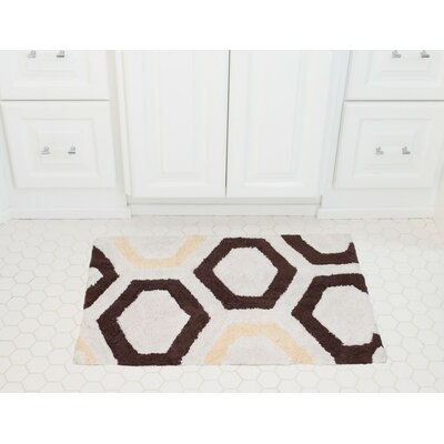 Honeycomb Cotton Bath Mat Color: Coffee / Cream