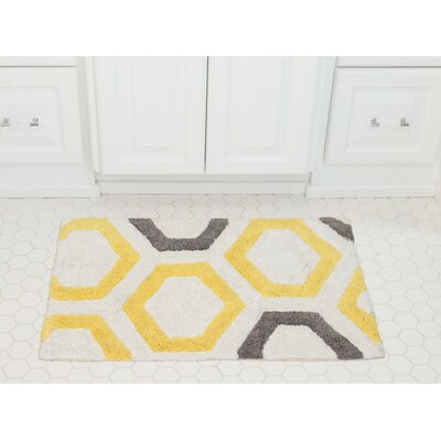 Honeycomb Cotton Bath Mat Color: Yellow / Gray
