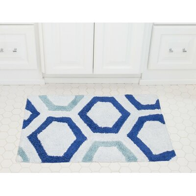 Honeycomb Cotton Bath Mat Color: Royal / Baby Blue