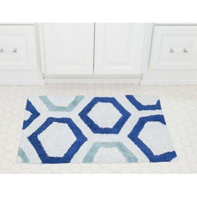 Honeycomb Cotton Bath Mat Color: Royal / Baby Blue