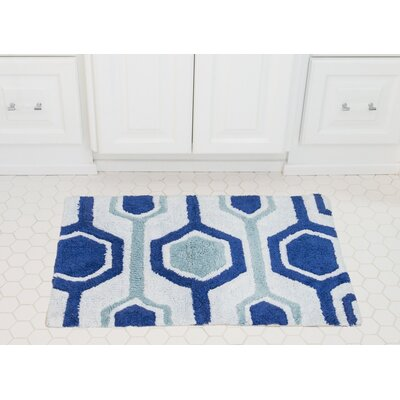 Hexagon Cotton Bath Mat Color: Royal / Baby