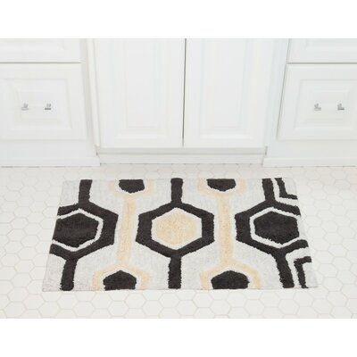 Hexagon Cotton Bath Mat Color: Charcoal / Cream