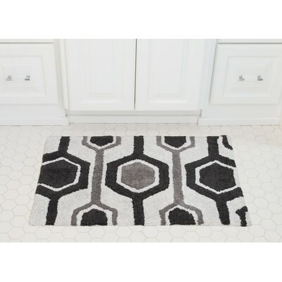 Hexagon Cotton Bath Mat Color: Charcoal / Gray