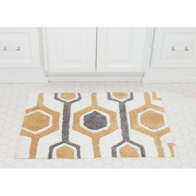 Hexagon Cotton Bath Mat Color: Beige / Gray
