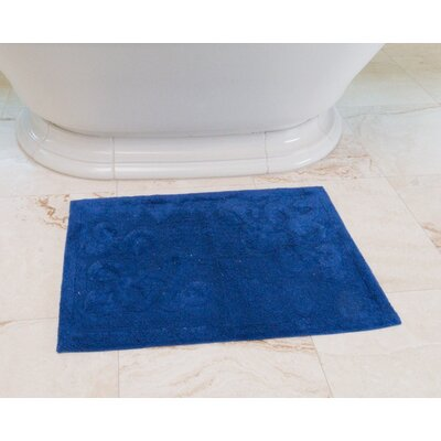 Sculpted Scroll Cotton Bath Mat Color: Royal Blue