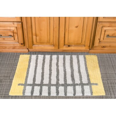 Notebook Cotton Bath Mat Color: Yellow / Gray