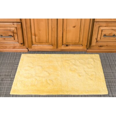 Sculpted Scroll Cotton Bath Mat Color: Yellow
