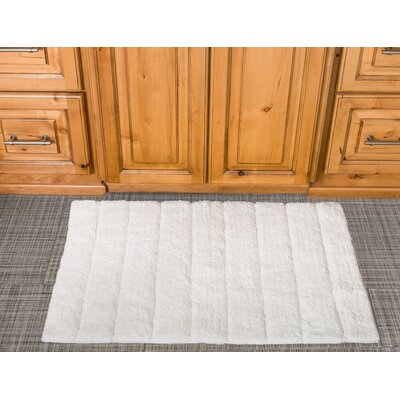 Stripe Cotton Bath Mat Color: White
