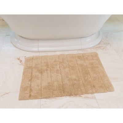 Stripe Cotton Bath Mat Color: Beige