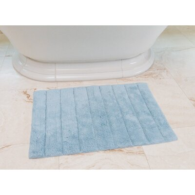 Stripe Cotton Bath Mat Color: Baby Blue