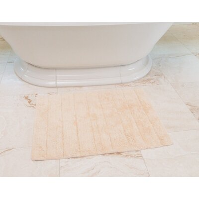 Stripe Cotton Bath Mat Color: Cream