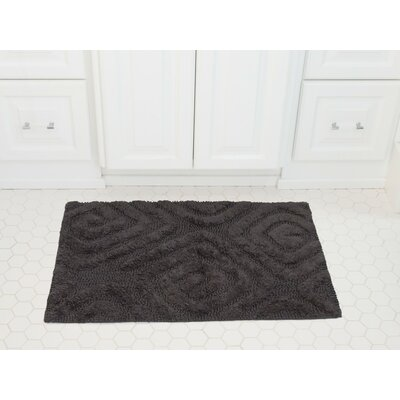 Swirls Cotton Bath Mat Color: Charcoal