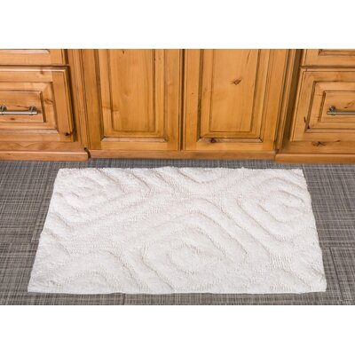 Swirls Cotton Bath Mat Color: White