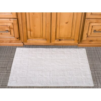 Tiles Cotton Bath Mat Color: White