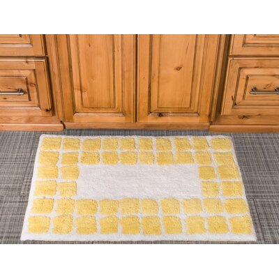Tiles Cotton Bath Mat Color: Yellow