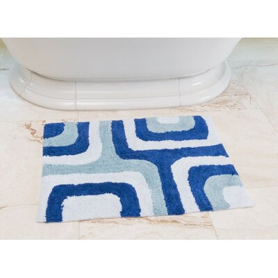 Cubical Maze Cotton Bath Mat Color: Royal / Baby Blue