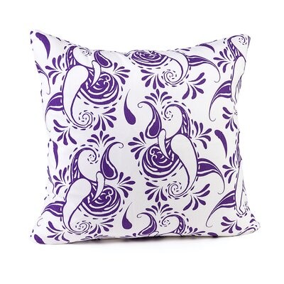Tamia Cotton Pillow Cover Color: White/Purple