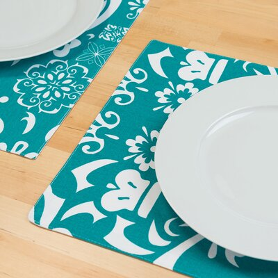 Buckley Rectangular Cotton Placemat Color: Turquoise