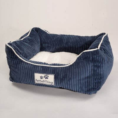 Corduroy Pet Bed with Removable Pillow Color: Navy