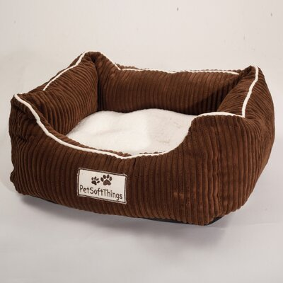 Corduroy Pet Bed with Removable Pillow Color: Chocolate