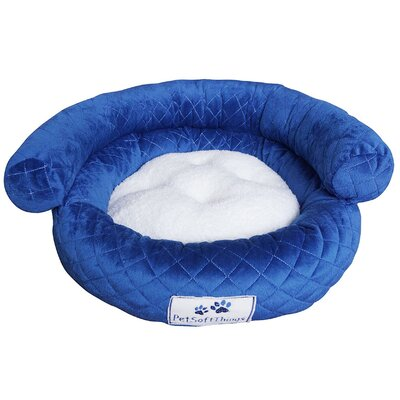 Diamond Quilt Round Pet Bed with Removable Pillow Color: Strong Blue