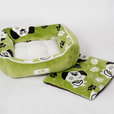 Dog Head Pet Bed with Removable Pillows Color: Green
