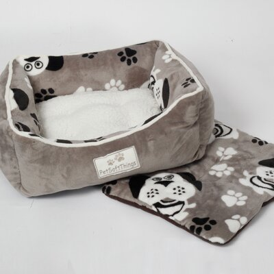 Dog Head Pet Bed with Removable Pillows Color: Gray