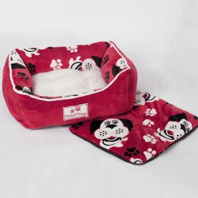 Dog Head Pet Bed with Removable Pillows Color: Red
