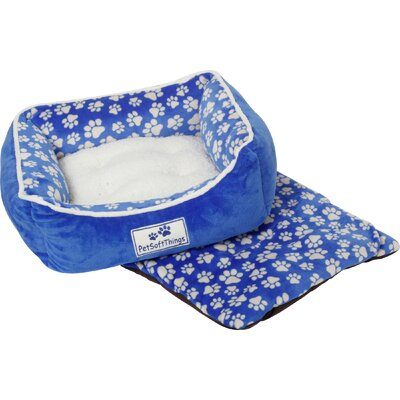 Dog Paw Pet Bed with Removable Pillows Color: Palace Blue
