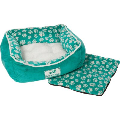 Dog Paw Pet Bed with Removable Pillows Color: Dynasty Green