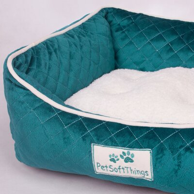 Microplush Quilted Dog Bed with Removable Pillow Color: Deep Lake
