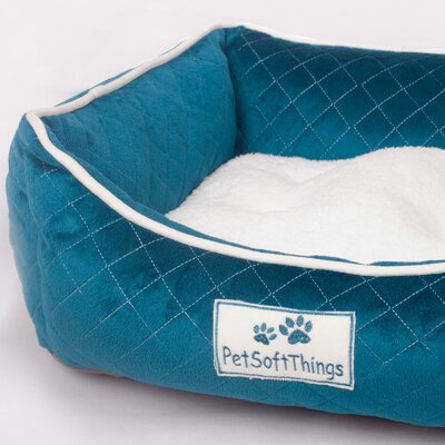 Microplush Quilted Dog Bed with Removable Pillow Color: Ink Blue