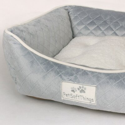 Microplush Quilted Dog Bed with Removable Pillow Color: Pearl Blue