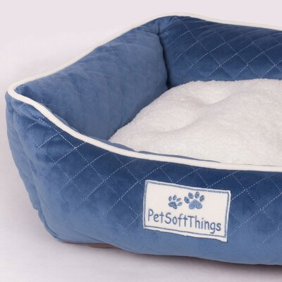 Microplush Quilted Dog Bed with Removable Pillow Color: Red Blue