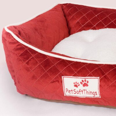 Microplush Quilted Dog Bed with Removable Pillow Color: Red