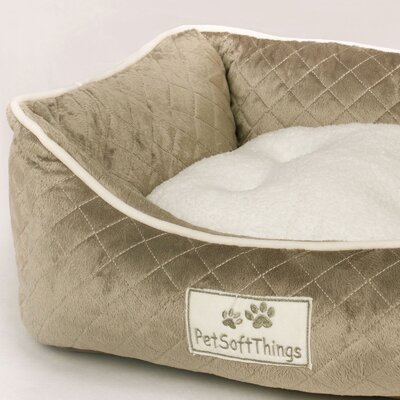 Microplush Quilted Dog Bed with Removable Pillow Color: Slate Green