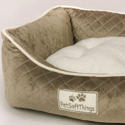 Microplush Quilted Dog Bed with Removable Pillow Color: Sage