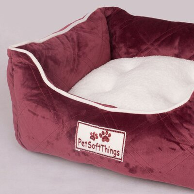Super Soft Quilted Dog Bed with Removable Pillow Color: Burgundy
