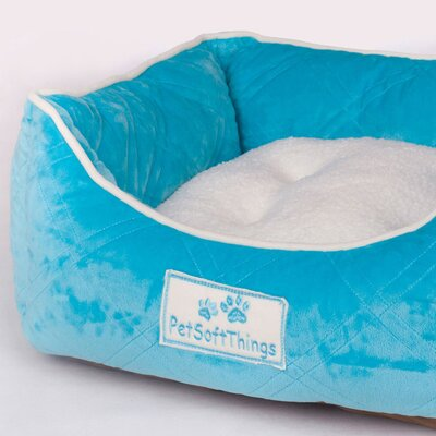 Super Soft Quilted Dog Bed with Removable Pillow Color: Scuba Blue
