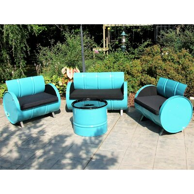 Tucson Indoor/Outdoor Garden Patio 4 Piece Seating Group with Cushion