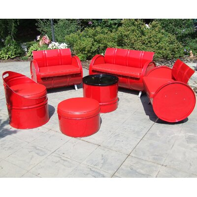 Very Red 6 Piece Seating Group with Cushion
