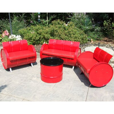 Very Red 4 Piece Seating Group with Cushion