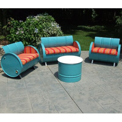 Tahoe Indoor/Outdoor Garden Patio 4 Piece Seating Group with Cushion