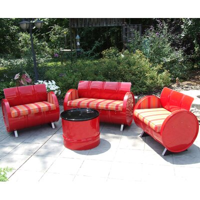 Bravada Salsa Indoor/Outdoor Garden Patio 4 Piece Seating Group with Cushion