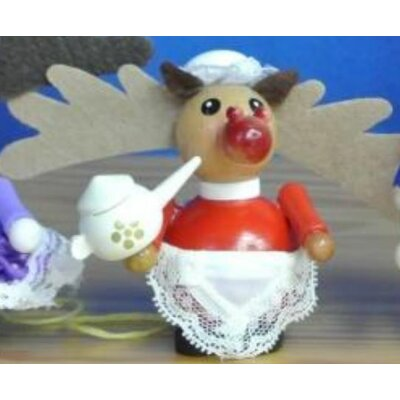 Steinbach Miss Rudolph the Reindeer with Teapot German Wood Christmas Ornament