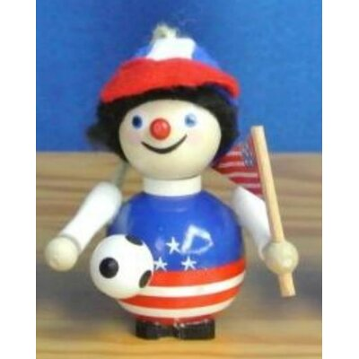 Steinbach Soccer Player with American Flag German Wooden Christmas Ornament