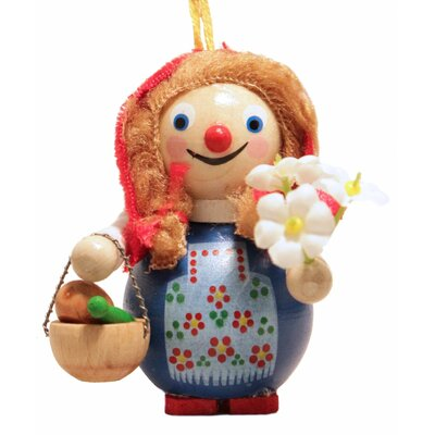 Steinbach Riding Hood with Flowers German Wooden Christmas Ornament