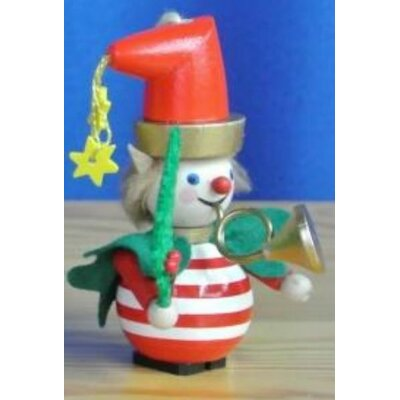 Steinbach Striped Sparkle the Elf with Horn German Wooden Christmas Ornament